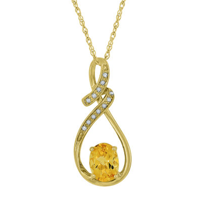 Womens Genuine Yellow Citrine 14K Gold Over Silver Pendant Necklace
