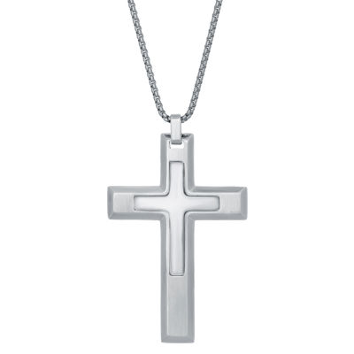 Mens Cross Pendant Necklace