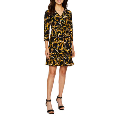 Alyx 3/4 Sleeve Scroll Wrap Dress