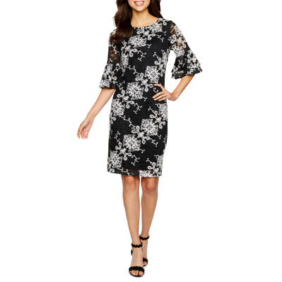 Ronni Nicole 3/4 Tiered Sleeve Medallion Lace Sheath Dress