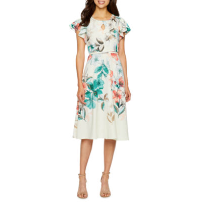 Danny & Nicole Short Sleeve Floral Fit & Flare Dress