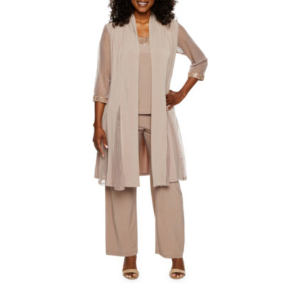 R&M Richards 3-pc Pantsuit with Waterfall Duster-Petite
