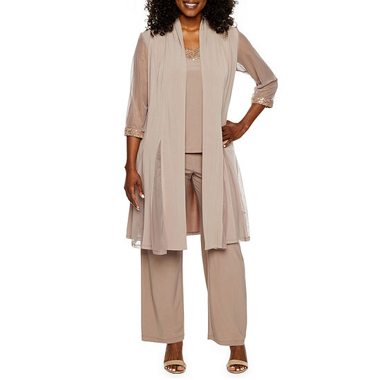 Rm Richards 3 Pc Pantsuit With Waterfall Duster Petite