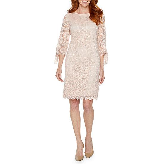 Liz Claiborne 3/4 Sleeve Midi Floral Shift Dress