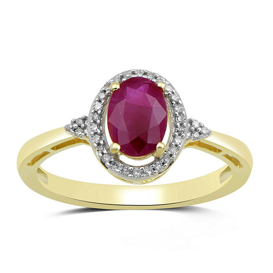 Womens Genuine Pink Sapphire 10K Gold Cocktail Ring