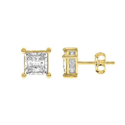 1 1/2 CT. T.W. Genuine White Diamond 14K Gold Stud Earrings