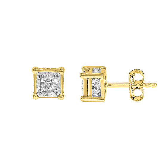 Tru Miracle 1/2 CT. T.W. Genuine White Diamond 10K Gold 5mm Stud Earrings
