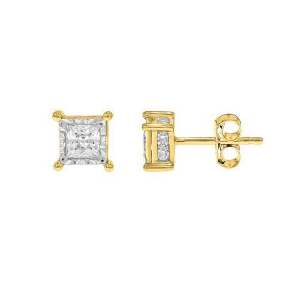 True Miracle 1 CT. T.W. Genuine White Diamond 14K Gold 5.1mm Stud Earrings