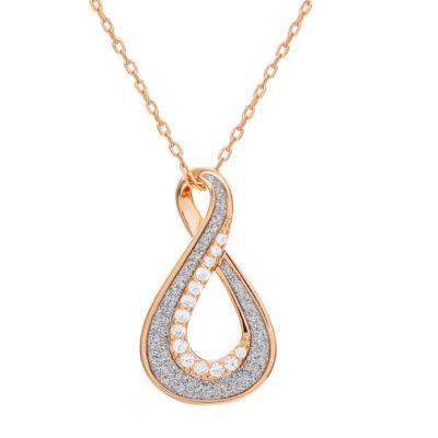 Diamonart Womens White Cubic Zirconia 14K Rose Gold Over Silver Pendant Necklace