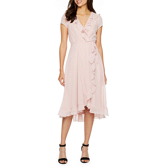 Danny & Nicole-Petite Short Sleeve Dots Midi Wrap Dress