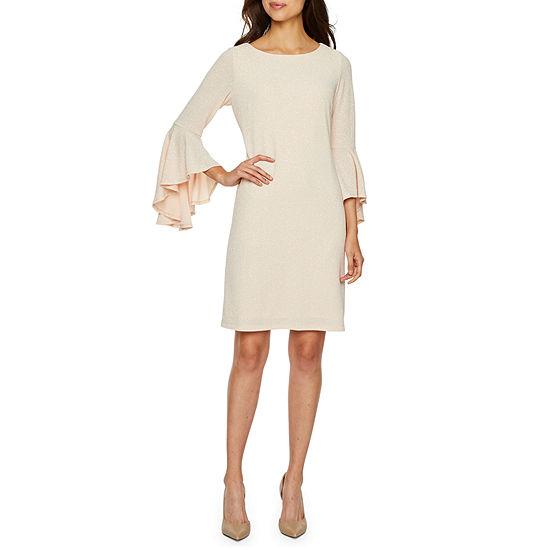 Ronni Nicole 3/4 Bell Sleeve Glitter Knit Shift Dress