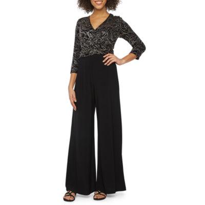 Ronni Nicole 3/4 Sleeve Glitter Knit Jumpsuit