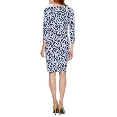 Liz Claiborne 3/4 Sleeve Geometric Sheath Dress