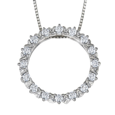 Womens 1/4 CT. T.W. Genuine White Diamond 10K White Gold Pendant Necklace
