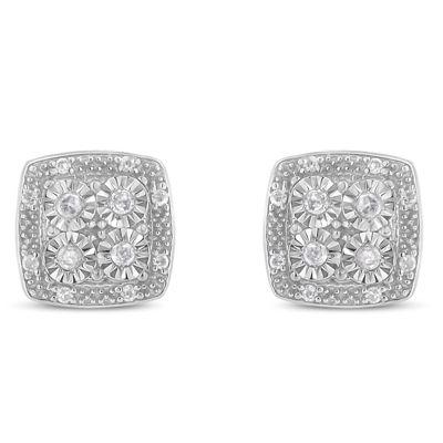 1/4 CT. T.W. Genuine White Diamond 15mm Stud Earrings