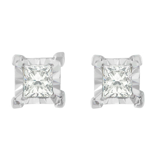 1/3 CT. T.W. Genuine White Diamond Sterling Silver 13mm Stud Earrings