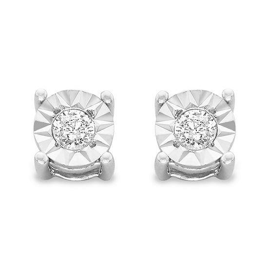 1/5 CT. T.W. Genuine White Diamond Sterling Silver 5mm Stud Earrings