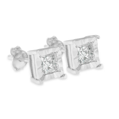 1 CT. T.W. Genuine White Diamond Sterling Silver 5mm Stud Earrings