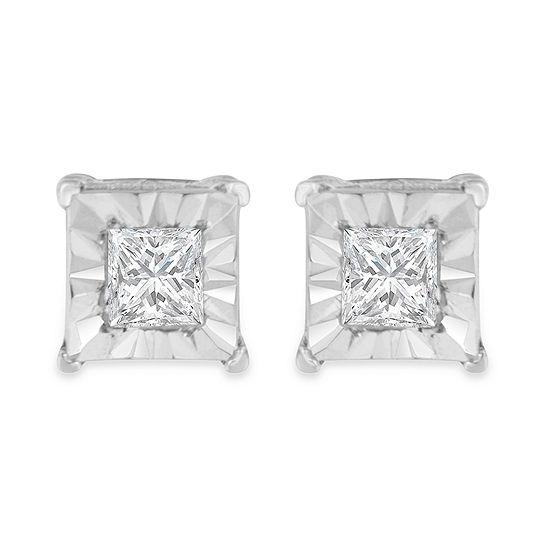 1/4 CT. T.W. Genuine White Diamond Sterling Silver 5mm Stud Earrings