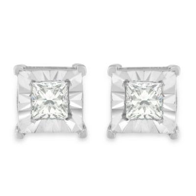 5/8 CT. T.W. Genuine White Diamond Sterling Silver 5mm Stud Earrings