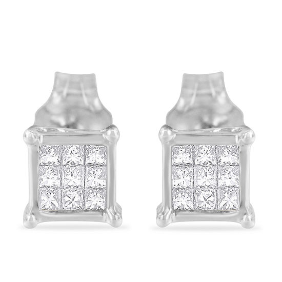 1/5 CT. T.W. Genuine White Diamond Sterling Silver 15mm Stud Earrings