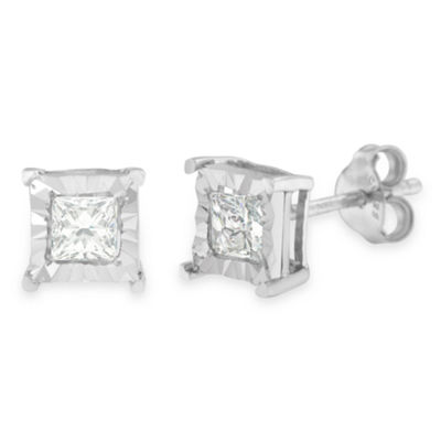 5/8 CT. T.W. Genuine White Diamond Sterling Silver 7mm Stud Earrings