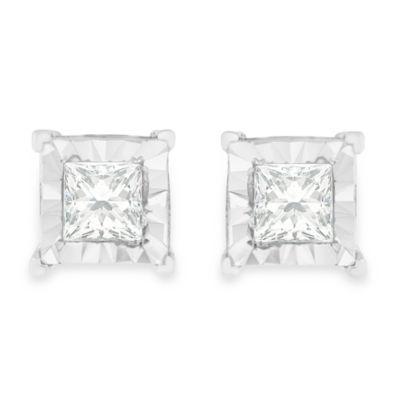 5/8 CT. T.W. Genuine White Diamond Sterling Silver 7mm Stud Earrings