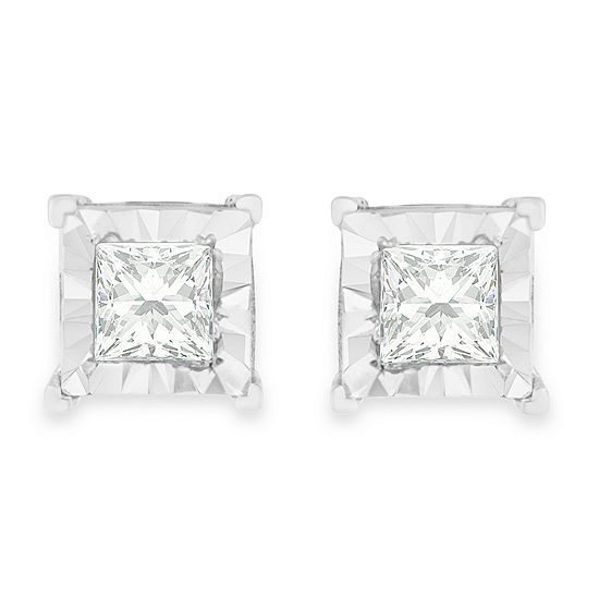 5 8 Ct Tw Genuine White Diamond Sterling Silver 7mm Stud Earrings