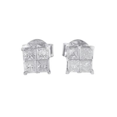 5/8 CT. T.W. Genuine White Diamond 10K White Gold 4mm Stud Earrings
