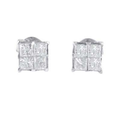 1 CT. T.W. Genuine White Diamond 10K White Gold 5mm Stud Earrings