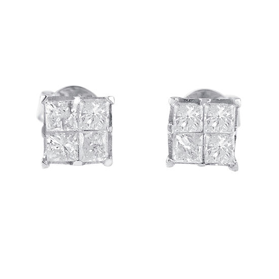 1 CT. T.W. Genuine White Diamond 10K White Gold 5mm Stud Earrings