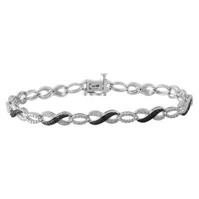 1/4 CT. T.W. Genuine Black Diamond Infinity 7.25 Inch Tennis Bracelet