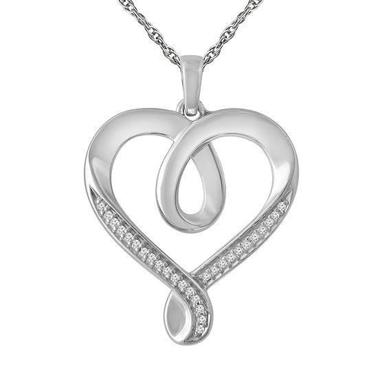 Womens Diamond Accent Genuine White Diamond Sterling Silver Heart Pendant Necklace