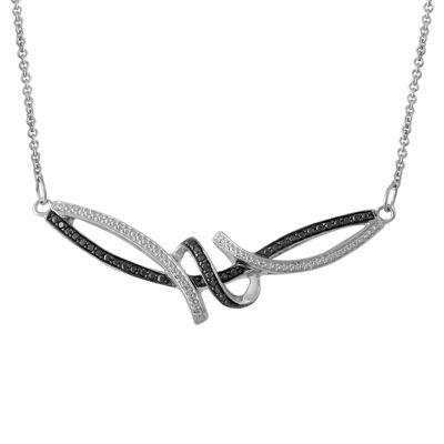 Womens 1/4 CT. T.W. Genuine Black Diamond Sterling Silver Pendant Necklace