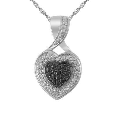 Womens Diamond Accent Genuine Black Diamond Heart Pendant Necklace