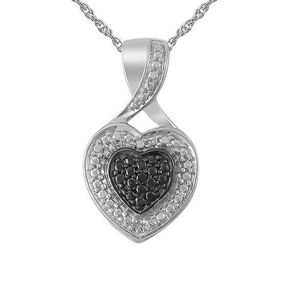 Womens Diamond Accent Genuine Black Diamond Sterling Silver Heart Pendant Necklace