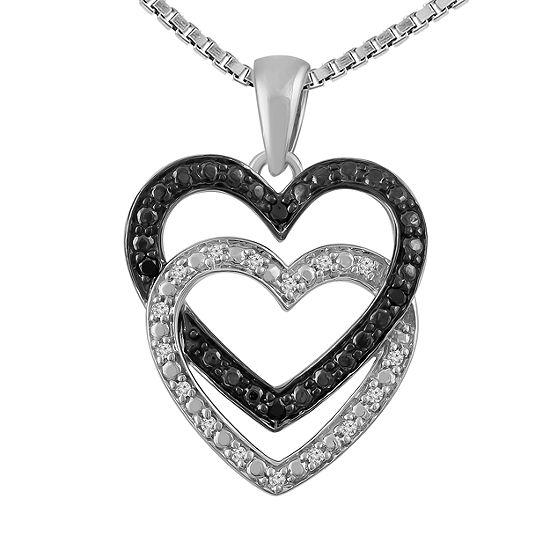 Womens 1/10 CT. T.W. Genuine Black Diamond Sterling Silver Heart Pendant Necklace