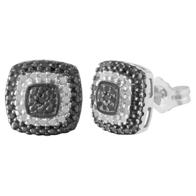 Diamond Accent Genuine Black Diamond Sterling Silver 9mm Stud Earrings