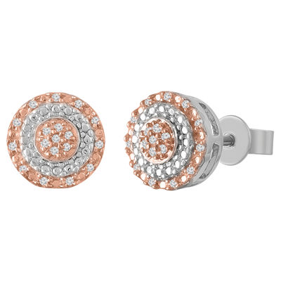1/8 CT. T.W. Genuine White Diamond 10K Rose Gold Over Silver 9mm Stud Earrings