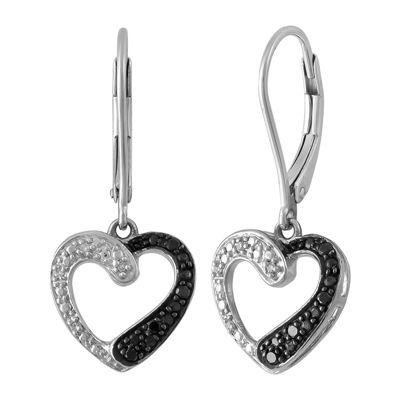 1/10 CT. T.W. Genuine Black Diamond Sterling Silver Heart Drop Earrings