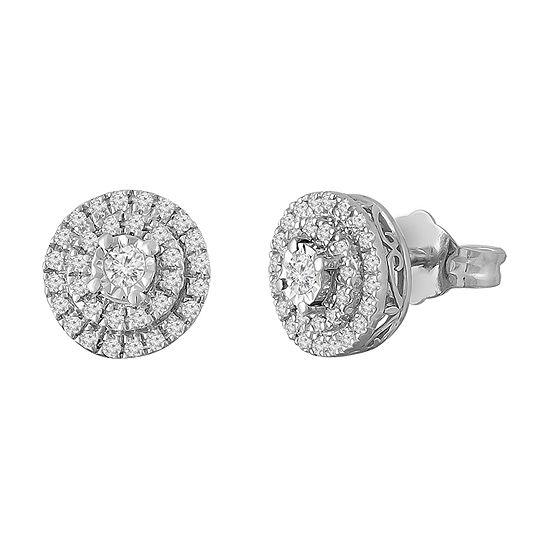 1/5 CT. T.W. Genuine White Diamond Sterling Silver 8mm Stud Earrings