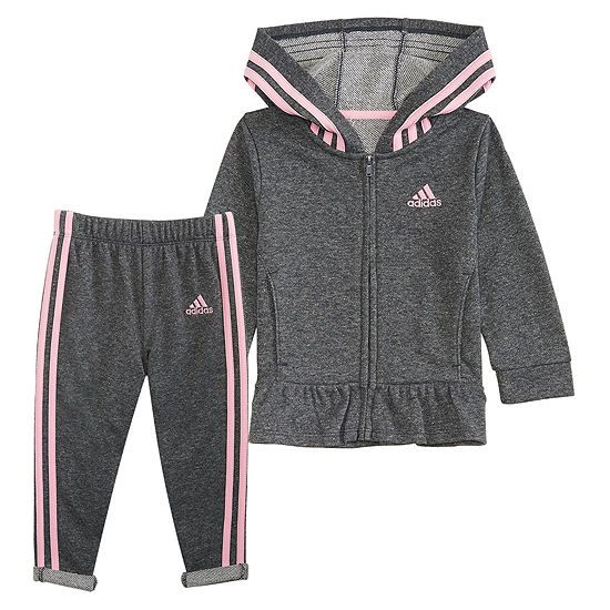 adidas Sparkle French Terry Jacket Set - Baby Girls 2-pc. Logo Track Suits Baby Girls