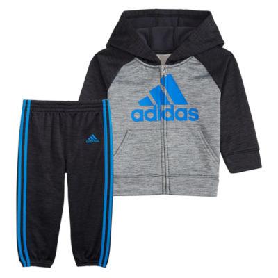 adidas Melange Fleece 2-pc. Logo Pant Set Baby Boys