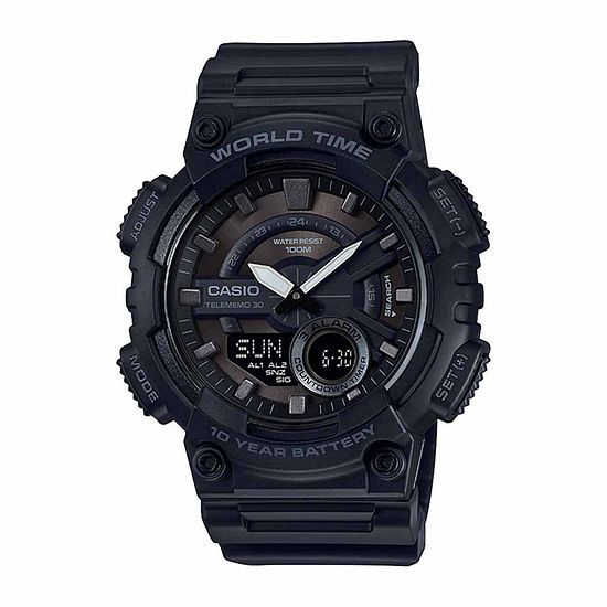Casio Table World Time Mens Black Strap Watch-Aeq110w-1bos
