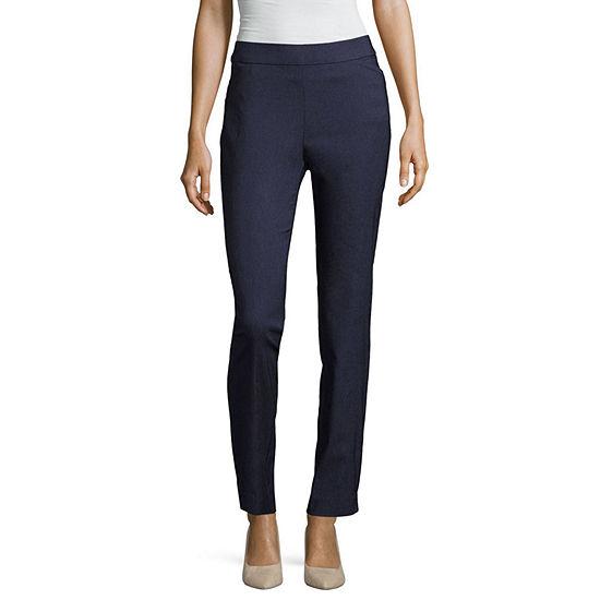 Worthington Womens Mid Rise Slim Pull-On Pants