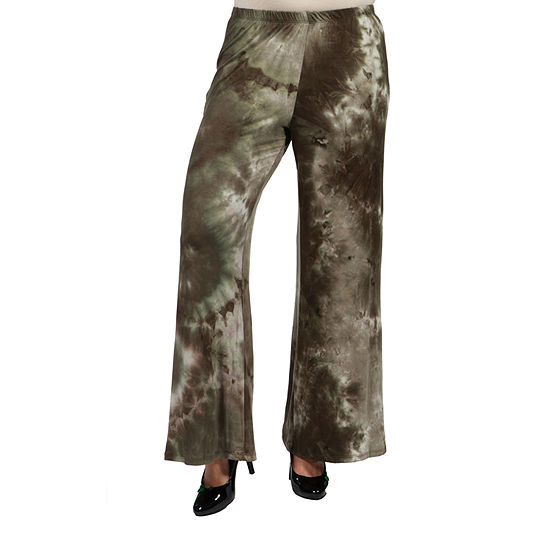 24/7 Comfort Apparel Comfortable Green Palazzo Pants - Plus