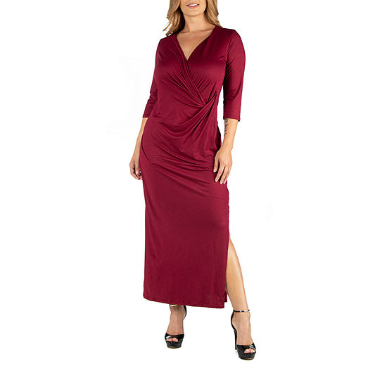 24/7 Comfort Apparel Ankle Side Slit Formal Maxi Dress - Plus