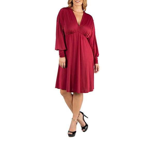 24/7 Comfort Apparel Long Sleeve V-Neck Cocktail Dress - Plus