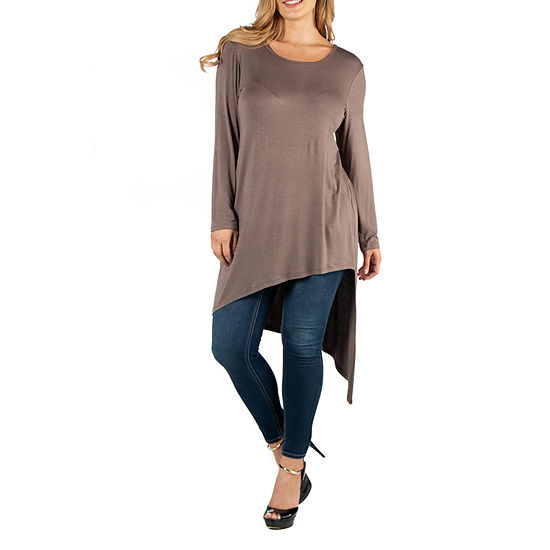 24/7 Comfort Apparel Long Sleeve Asymmetric Top