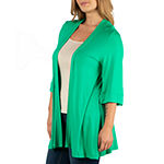 24/7 Comfort Apparel Open Front Elbow Sleeve Cardigan - Plus